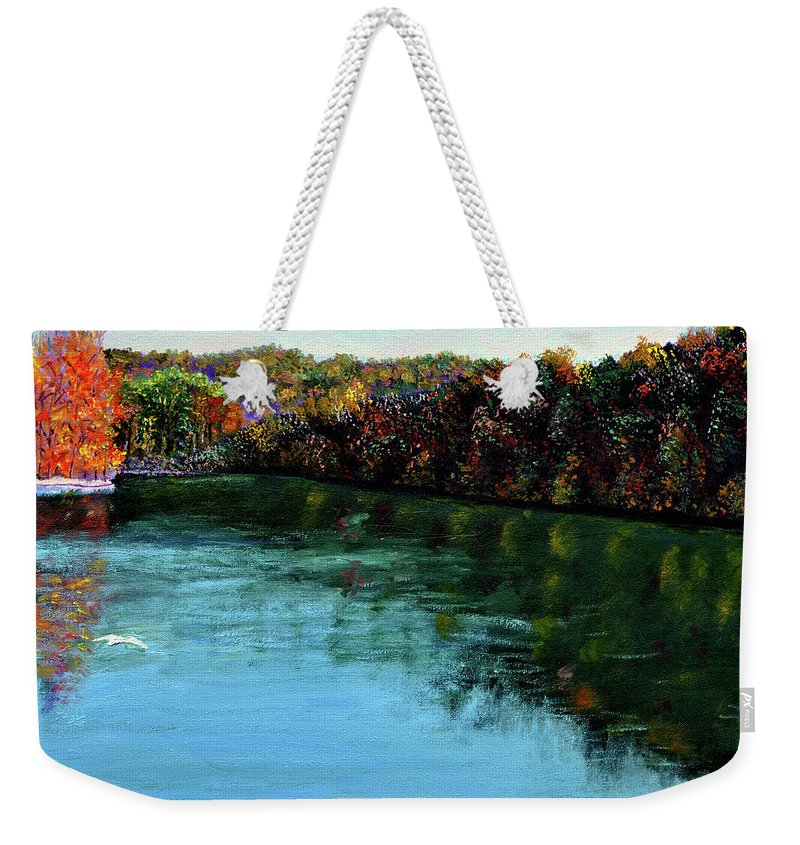 Lake Weekender Tote Bag featuring the painting Hdemo1 by Stan Hamilton