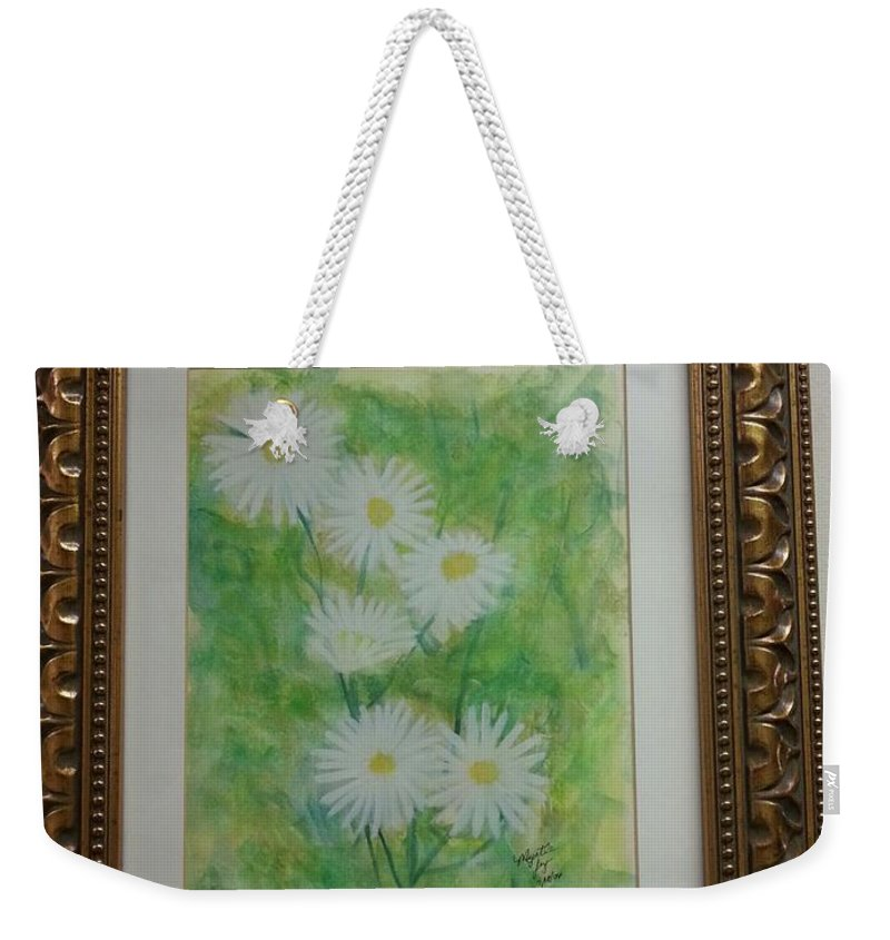Daisies With An Abstract Background Weekender Tote Bag featuring the He Loves Me....he Loves Me Not...he Loves Me by Myrtle Joy