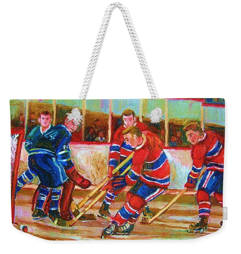 Hockey Weekender Tote Bag featuring the painting He Shoots  He Scores by Carole Spandau