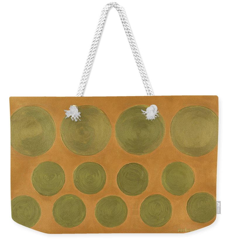 Adamantini Weekender Tote Bag featuring the painting He Tu Metal by Adamantini Feng shui