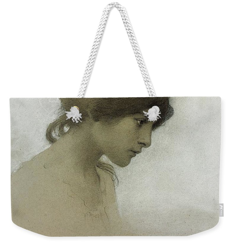 Head Of A Girl (pencil & Chalk On Paper) Female; Portrait; Young Girl; Profile; Drawing; Ethereal Beauty; Sketch Weekender Tote Bag featuring the drawing Head Of A Girl by Franz Dvorak