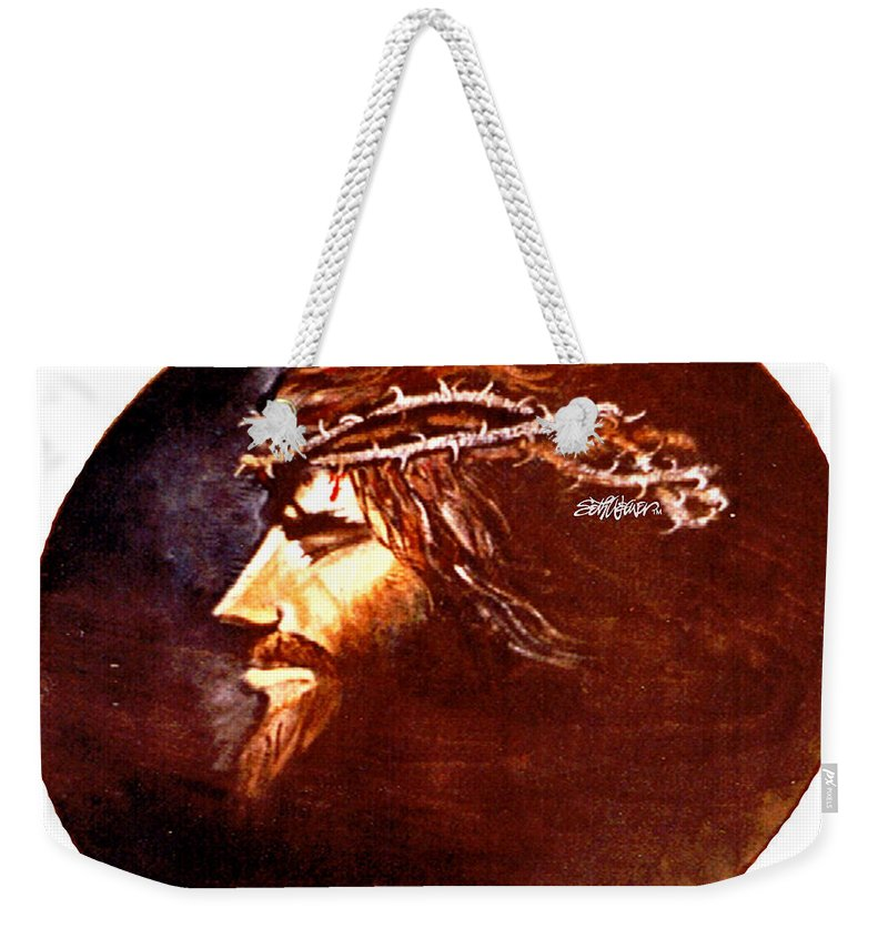 Jesus Christ Weekender Tote Bag featuring the painting Head Of Christ by Seth Weaver