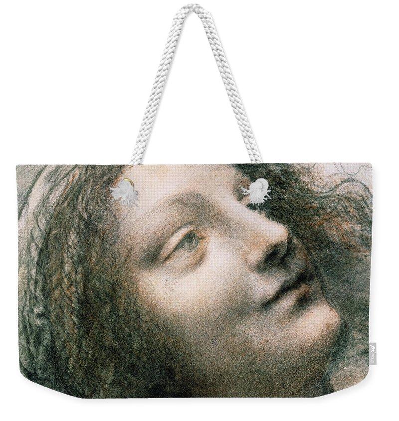 Leonardo Da Vinci Weekender Tote Bag featuring the drawing Head Of Virgin  by Leonardo Da Vinci