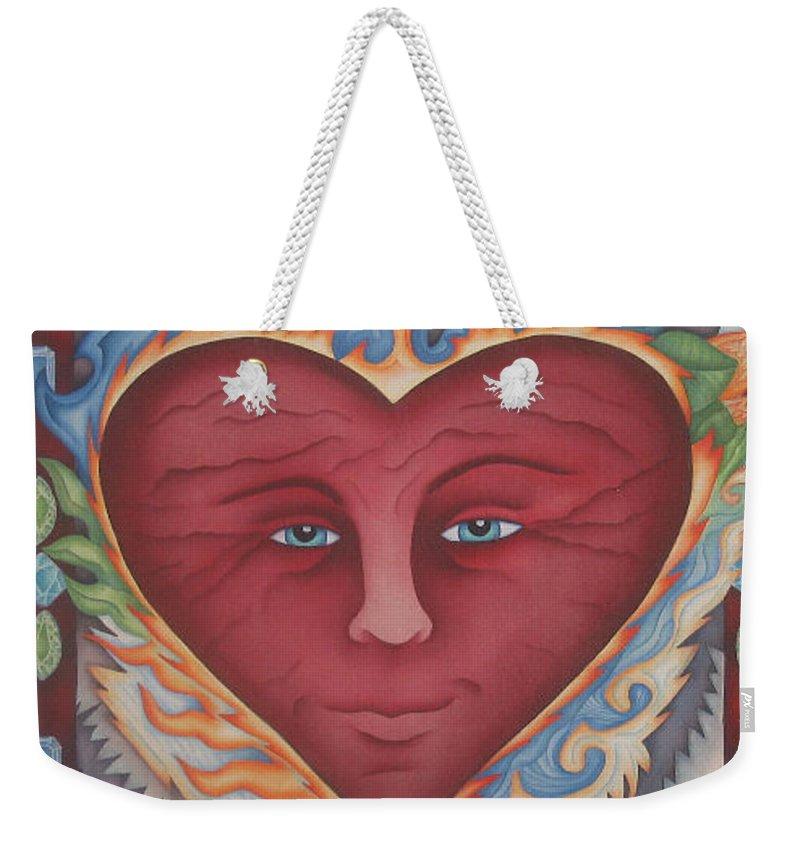 Heart Weekender Tote Bag featuring the painting Headheartandspirit.jpg by Jeniffer Stapher-Thomas