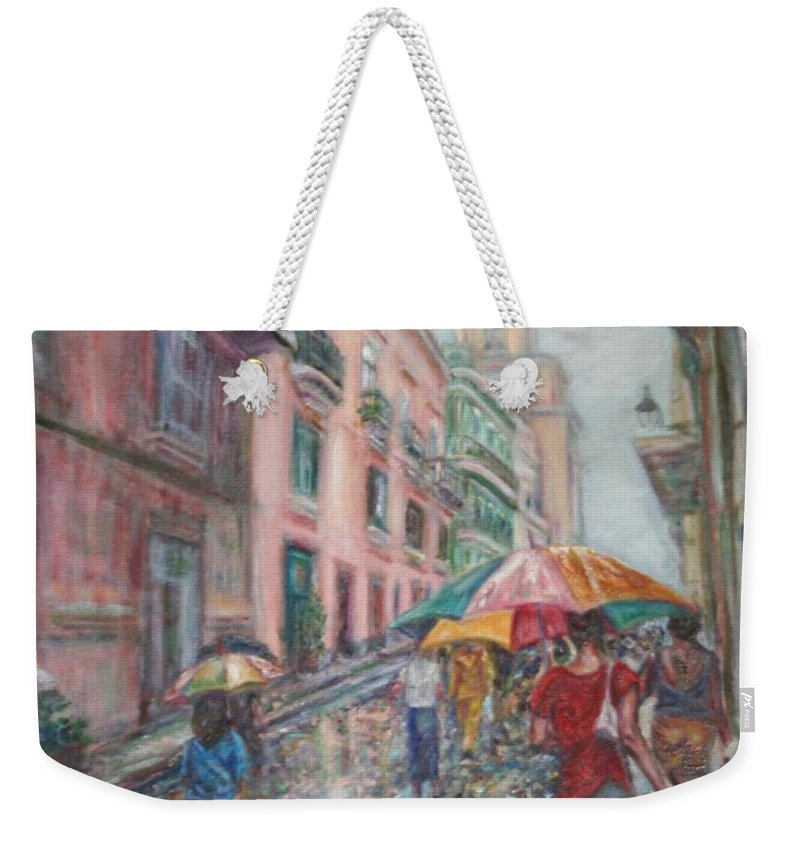 Women Weekender Tote Bag featuring the painting Heading Home In Havava by Quin Sweetman