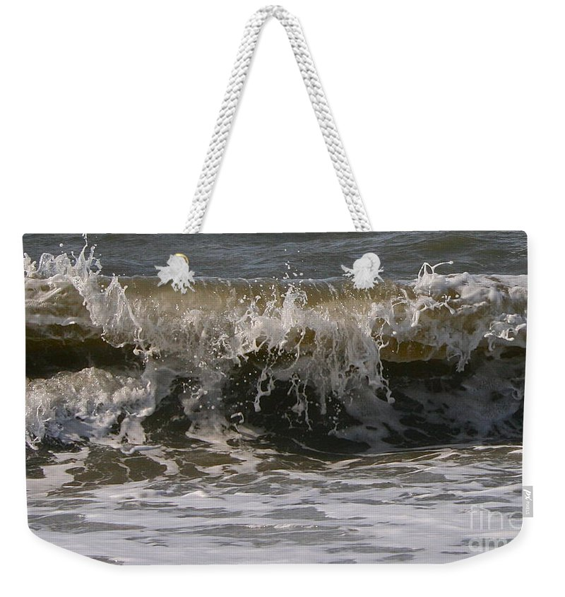 Wave Weekender Tote Bag featuring the photograph Heading In by Rick Monyahan