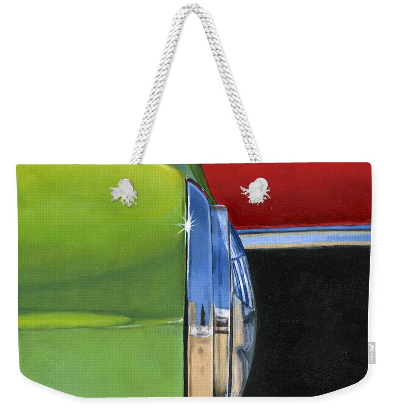 Car Weekender Tote Bag featuring the painting Headlight by Rob De Vries