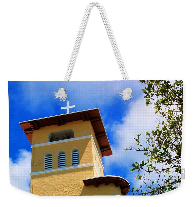 Cross Weekender Tote Bag featuring the photograph Heads Up by Debbi Granruth