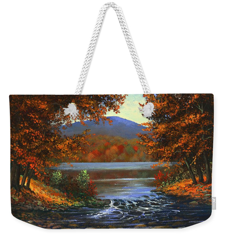 Landscape Weekender Tote Bag featuring the painting Headwaters by Frank Wilson