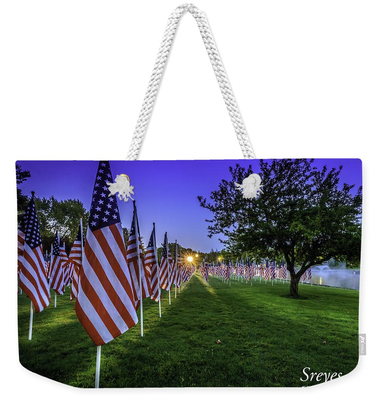 American Flag Weekender Tote Bag featuring the photograph Healing Field by Scott Reyes