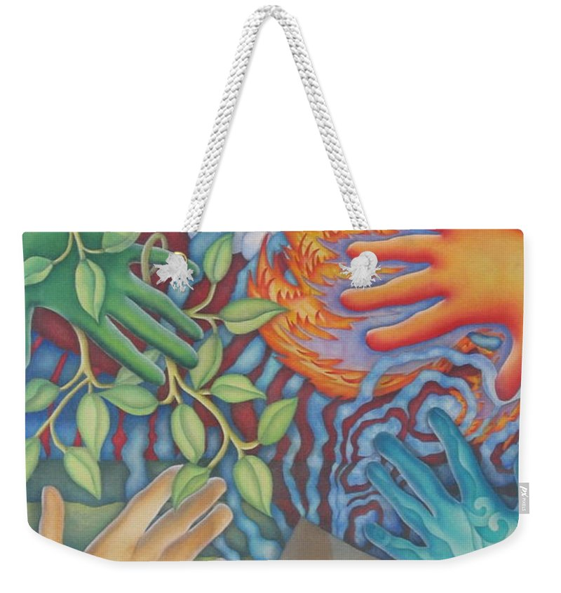 Nature. Love Weekender Tote Bag featuring the painting Healing Hands Of Love by Jeniffer Stapher-Thomas