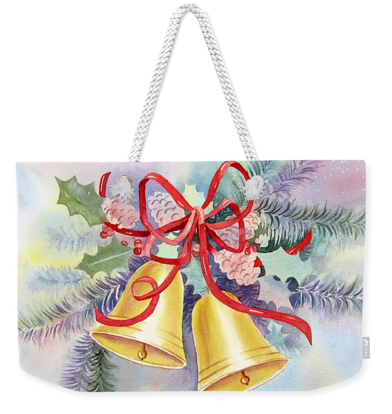 Christmas Bells Weekender Tote Bag featuring the painting Hear Them Ring by Deborah Ronglien