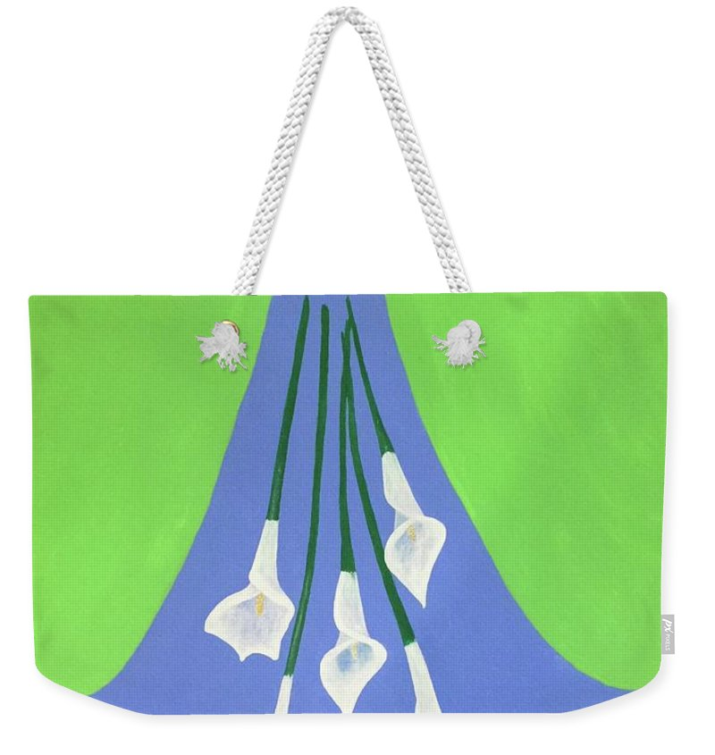 Green Weekender Tote Bag featuring the painting Heart And Flowers by Marcy Allen