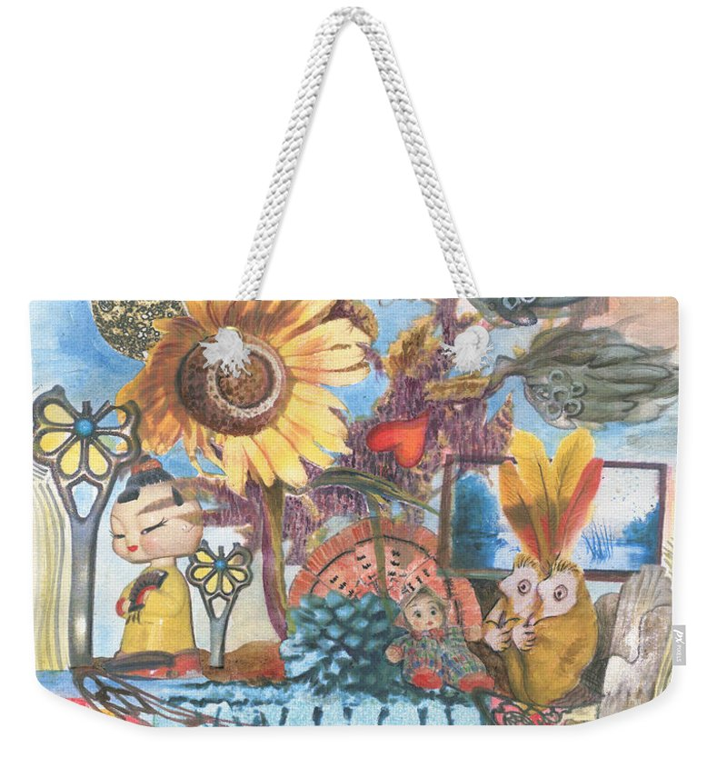 Abstract Weekender Tote Bag featuring the painting Heart And Soul by Valerie Meotti