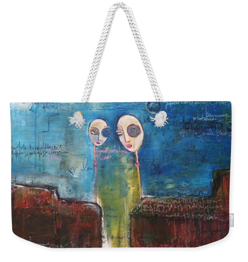 From The Lollipop Love Series Weekender Tote Bag featuring the painting Heart Beats The Same by Laurie Maves ART