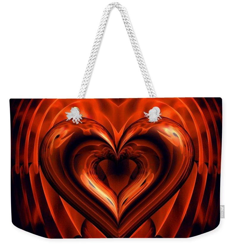 Heart Weekender Tote Bag featuring the digital art Heart In Flames by Dana Furi