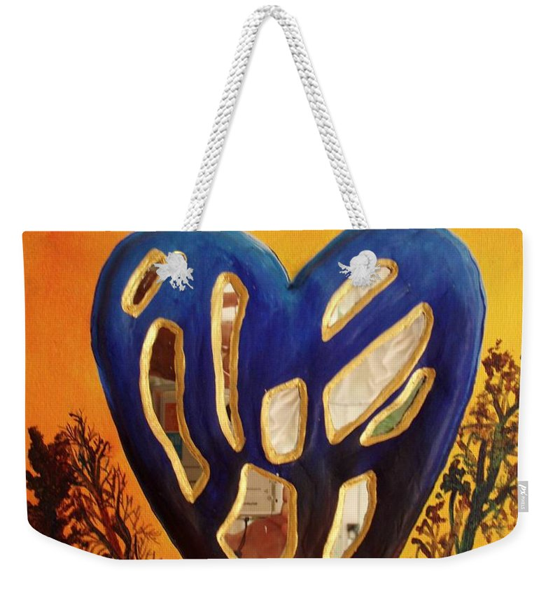 Weekender Tote Bag featuring the painting Heart In Glory by Catt Kyriacou