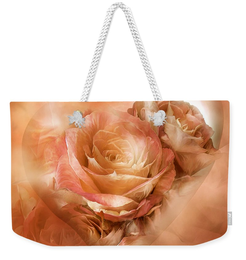 Rose Weekender Tote Bag featuring the mixed media Heart Of A Rose - Gold Bronze by Carol Cavalaris