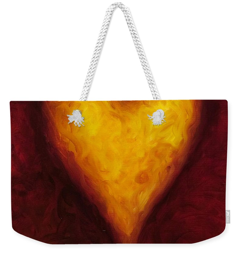 Heart Weekender Tote Bag featuring the painting Heart of Gold 1 by Shannon Grissom