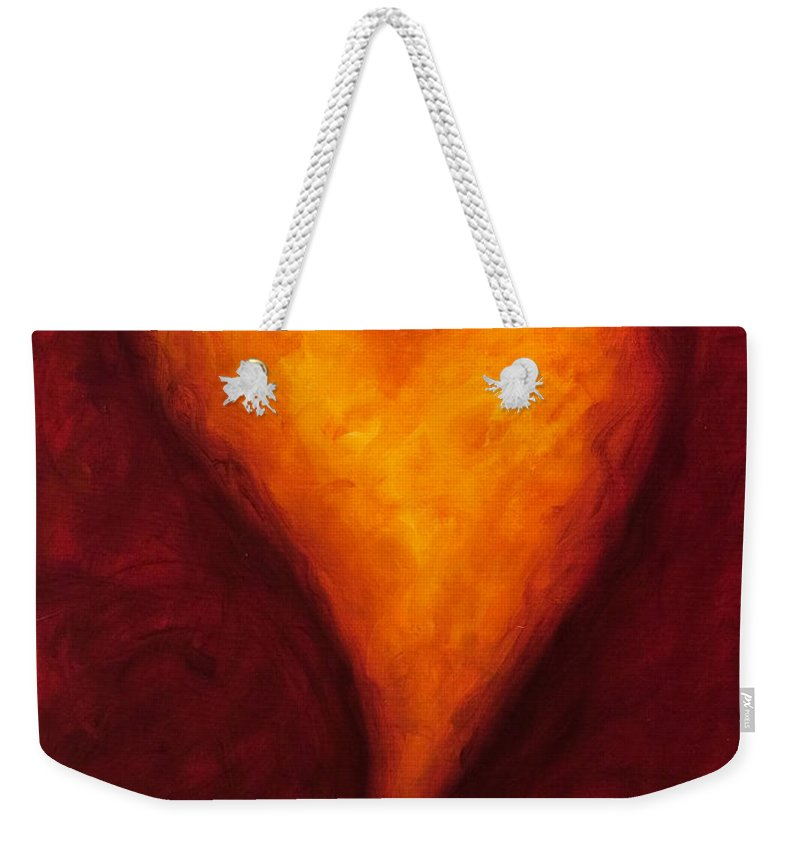 Heart Weekender Tote Bag featuring the painting Heart Of Gold 2 by Shannon Grissom