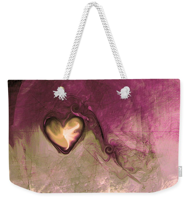 Heart Of Gold Weekender Tote Bag featuring the digital art Heart Of Gold by Linda Sannuti