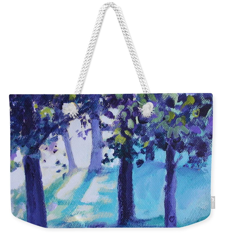 Expressionist Weekender Tote Bag featuring the painting Heart Of The Forest by Jan Bennicoff