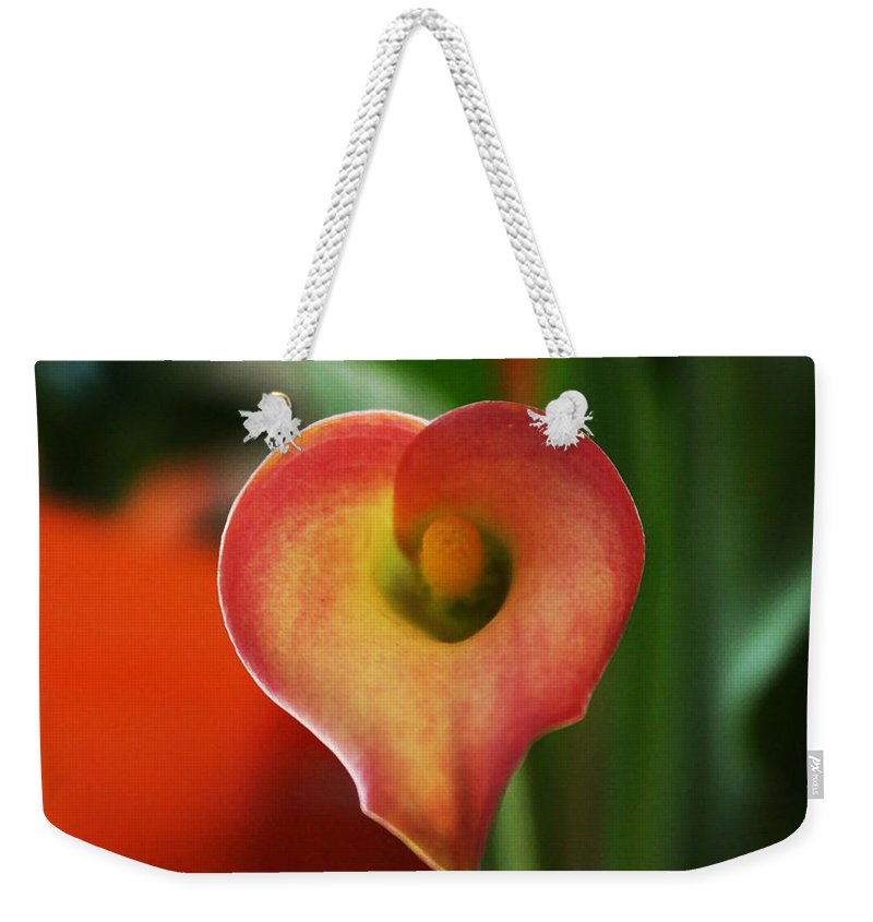 Heart Art Weekender Tote Bag featuring the photograph Heart Of The Lily by Linda Sannuti
