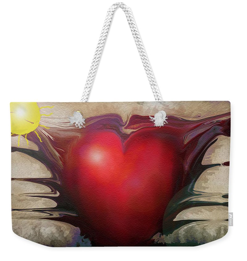 Abstracts Weekender Tote Bag featuring the digital art Heart Of The Sunrise by Linda Sannuti