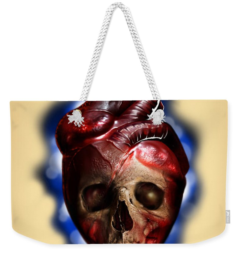 Hart Weekender Tote Bag featuring the digital art Heart Skull by Pedro Oliveira