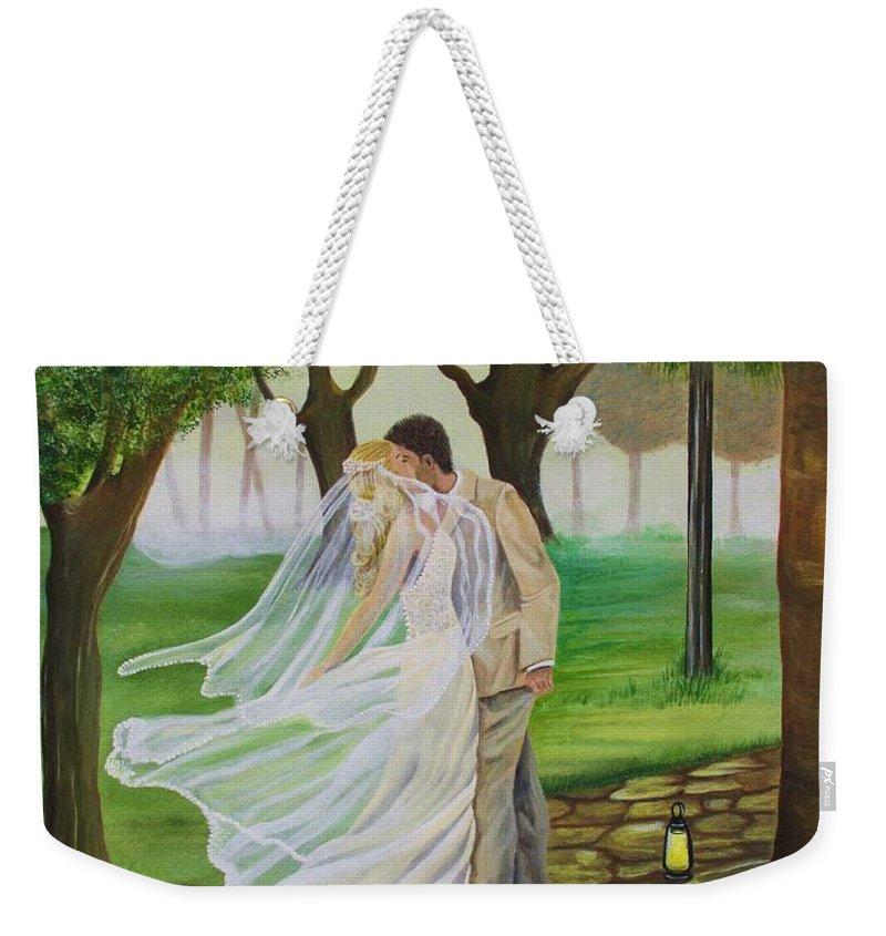 Bride And Groom Weekender Tote Bag featuring the painting Heart To Heart by Kris Crollard