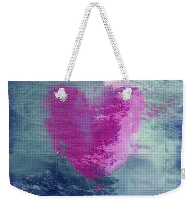 Hearts Weekender Tote Bag featuring the digital art Heart Waves by Linda Sannuti