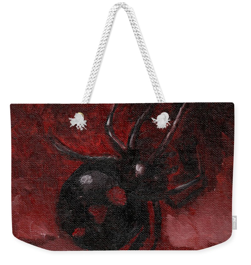 Spider Weekender Tote Bag featuring the painting Heart Widow by Skeletals Art
