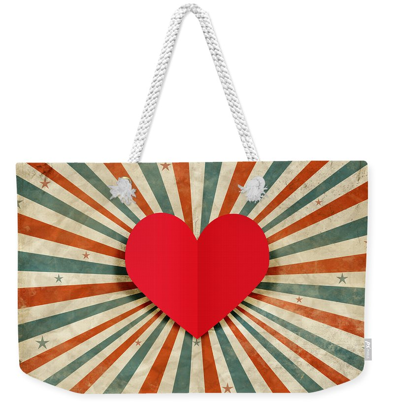 Antique Weekender Tote Bag featuring the photograph Heart With Ray Background by Setsiri Silapasuwanchai