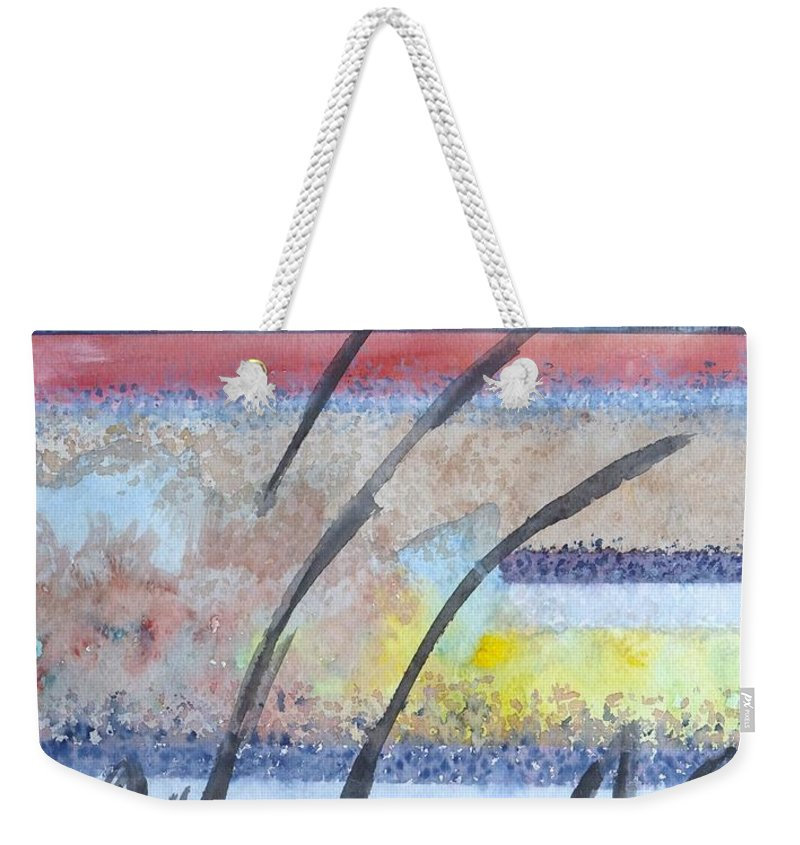 Abstract Weekender Tote Bag featuring the painting Heartbeat by Jacqueline Athmann