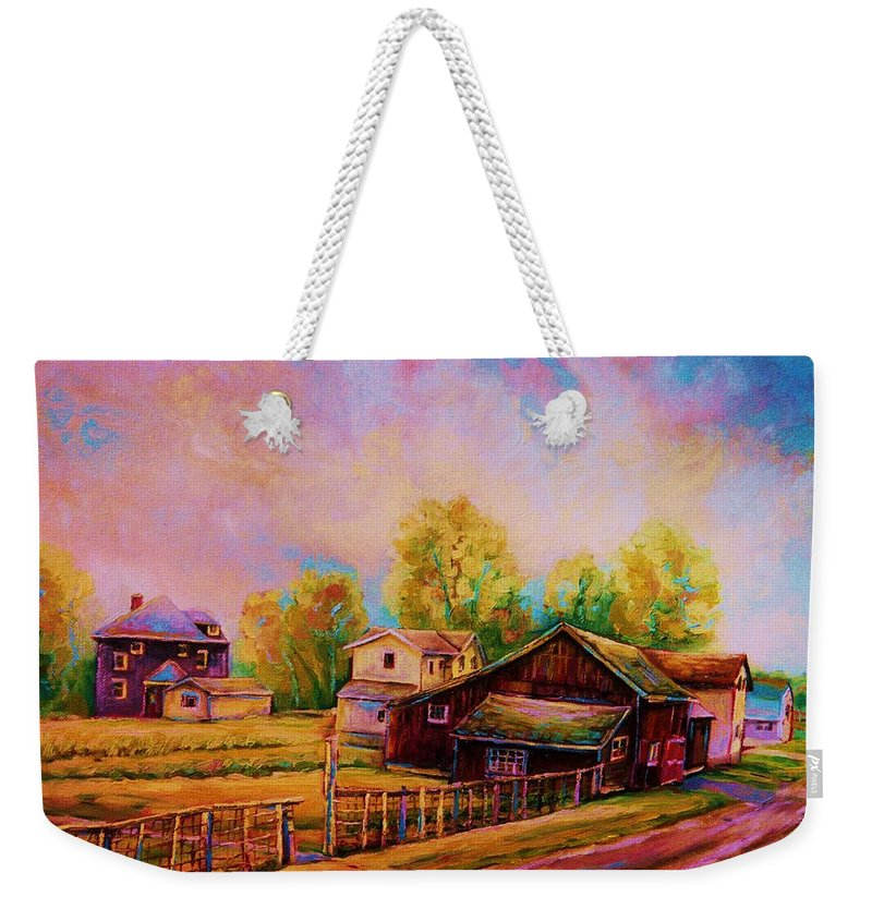 Landscape Weekender Tote Bag featuring the painting Hearth And Home by Carole Spandau