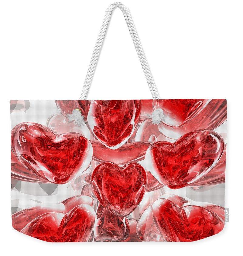 3d Weekender Tote Bag featuring the digital art Hearts Afire Abstract by Alexander Butler