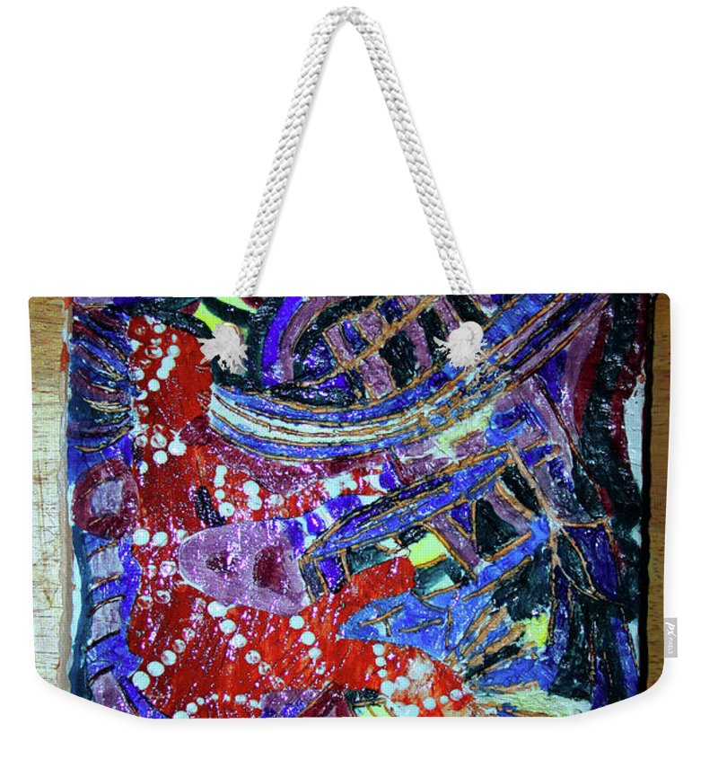Plaquesmamamama Africa Twojesus Weekender Tote Bag featuring the ceramic art Hearts Drum 2 by Gloria Ssali