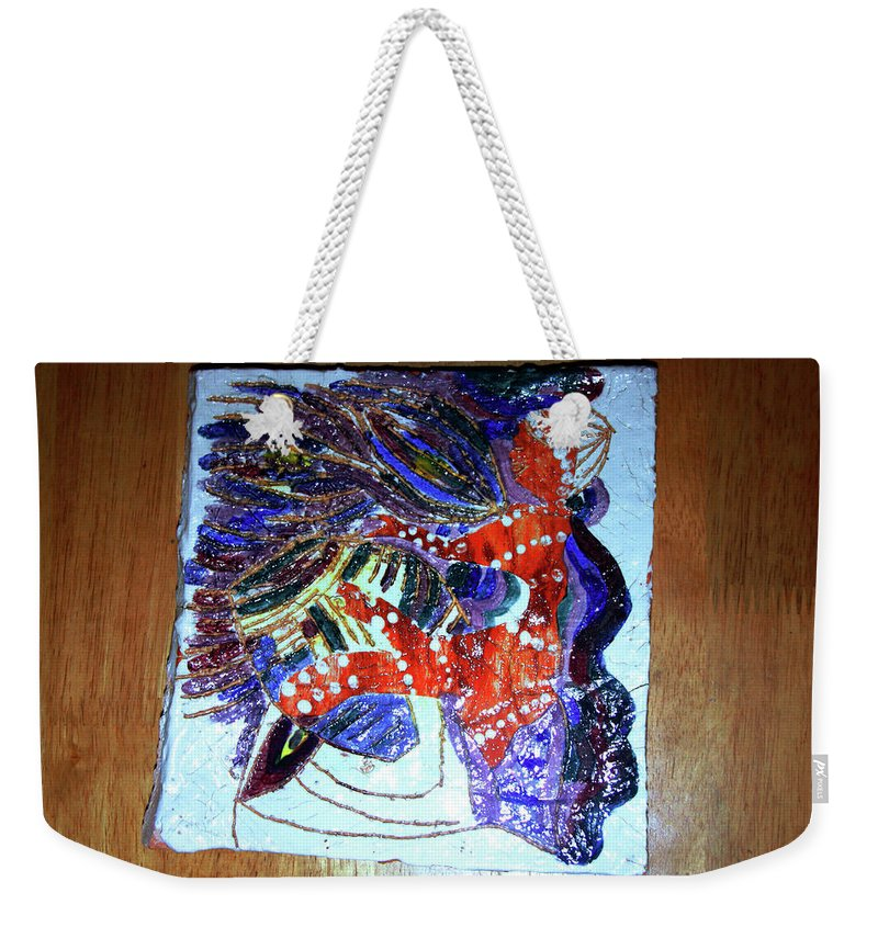 Plaquesmamamama Africa Twojesus Weekender Tote Bag featuring the ceramic art Hearts Drum 3 by Gloria Ssali