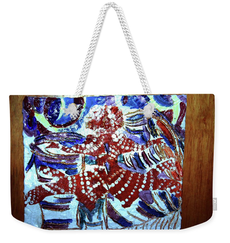 Plaquesmamamama Africa Twojesus Weekender Tote Bag featuring the ceramic art Hearts Drum 8 by Gloria Ssali