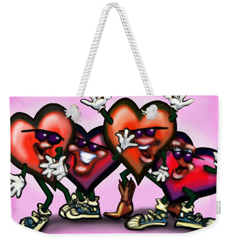 Heart Weekender Tote Bag featuring the digital art Hearts Gang by Kevin Middleton