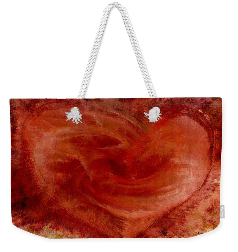 Heart Art Weekender Tote Bag featuring the digital art Hearts Of Fire by Linda Sannuti