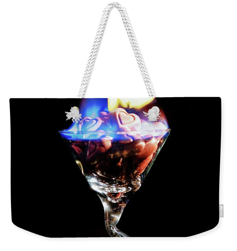 Martini Weekender Tote Bag featuring the photograph Hearts On Fire by Scott Campbell