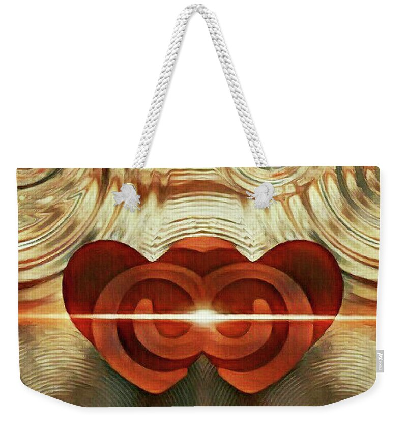 Jennifer Page Weekender Tote Bag featuring the digital art Hearts United by Jennifer Page