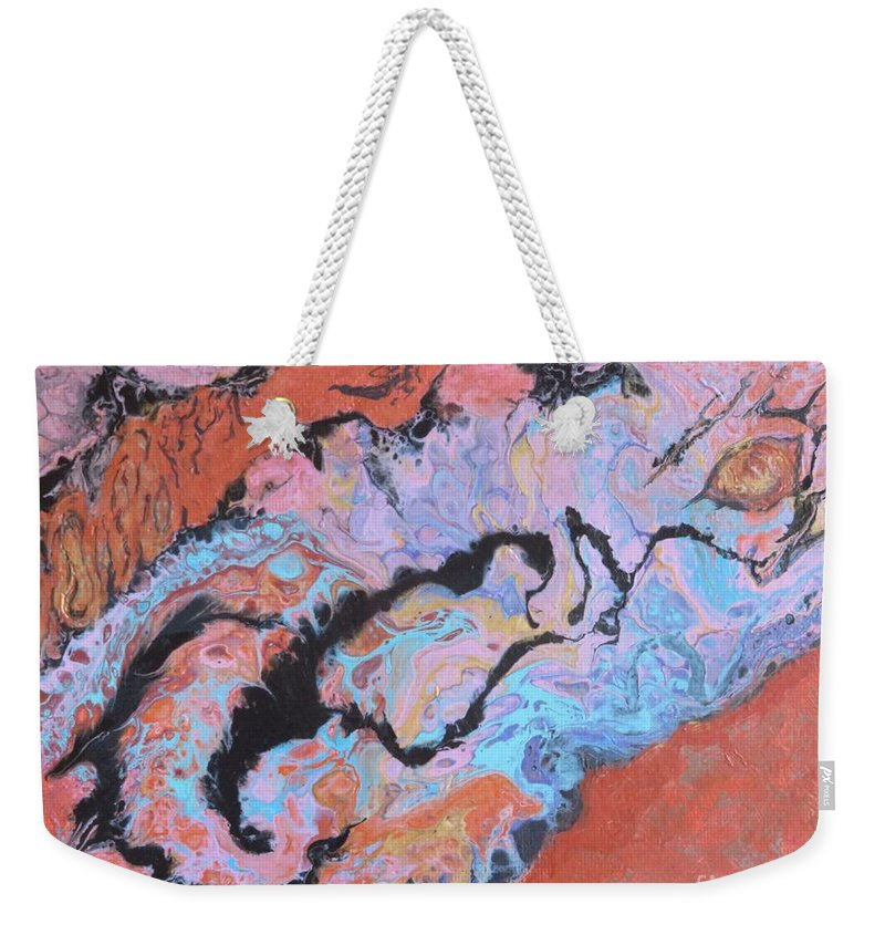 Abstract Weekender Tote Bag featuring the painting Heat by Nili Tochner