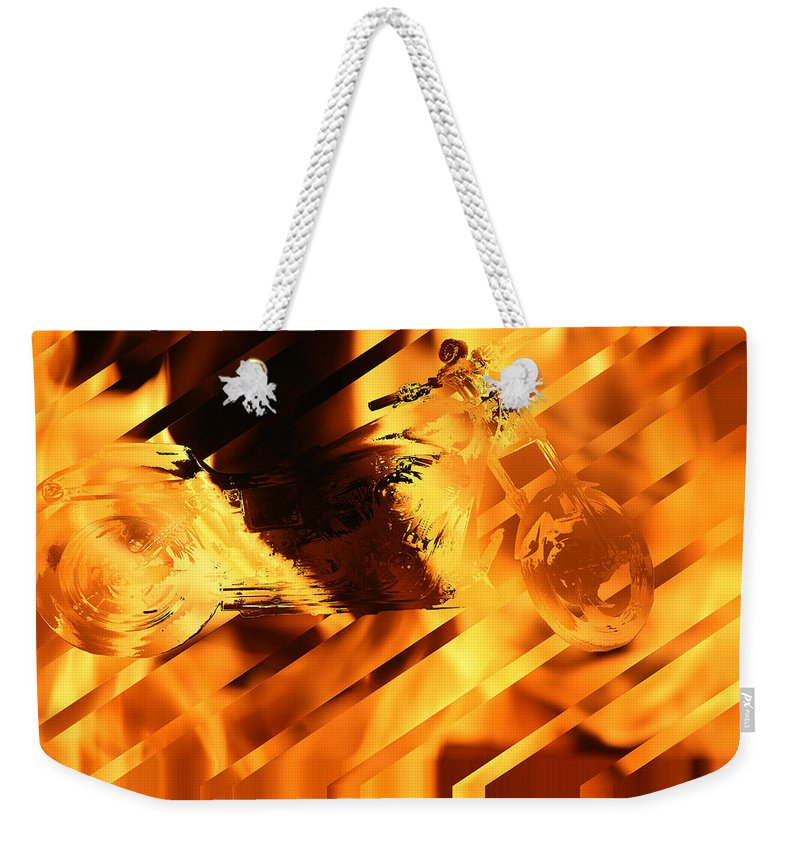Harley Davidson Motorcycle Art Work Fire Flames Bike Art Weekender Tote Bag featuring the photograph Heated Harley by Andrea Lawrence