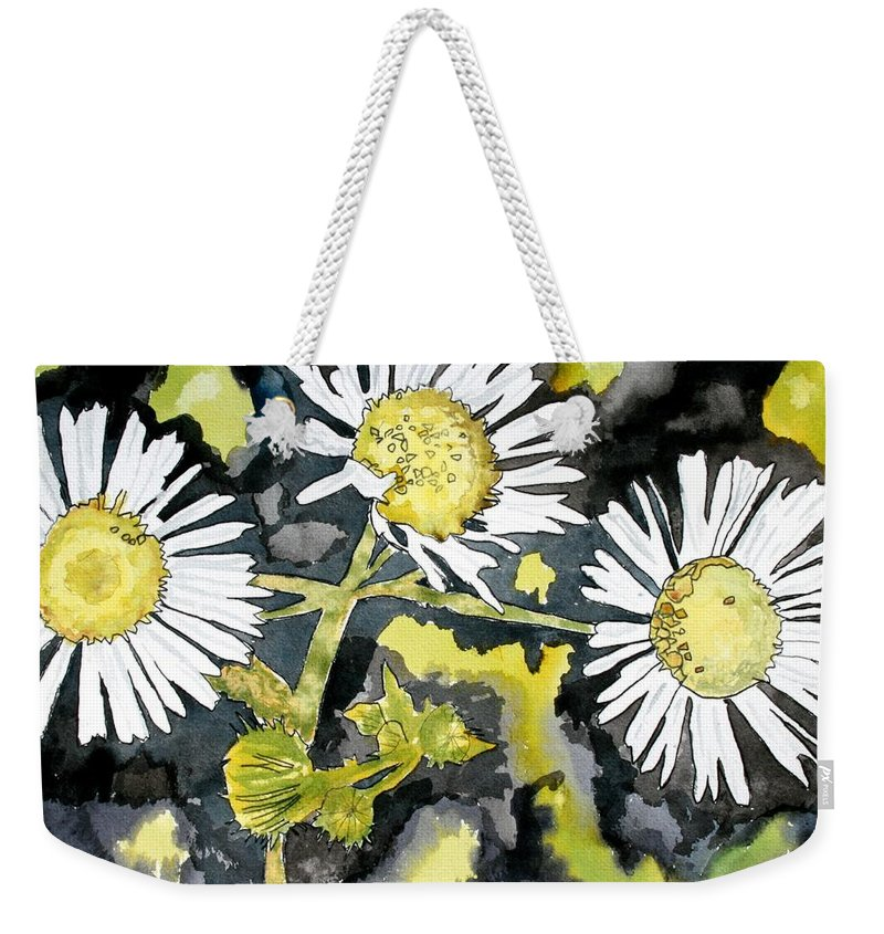Wildflower Weekender Tote Bag featuring the painting Heath Aster Flower Art Print by Derek Mccrea