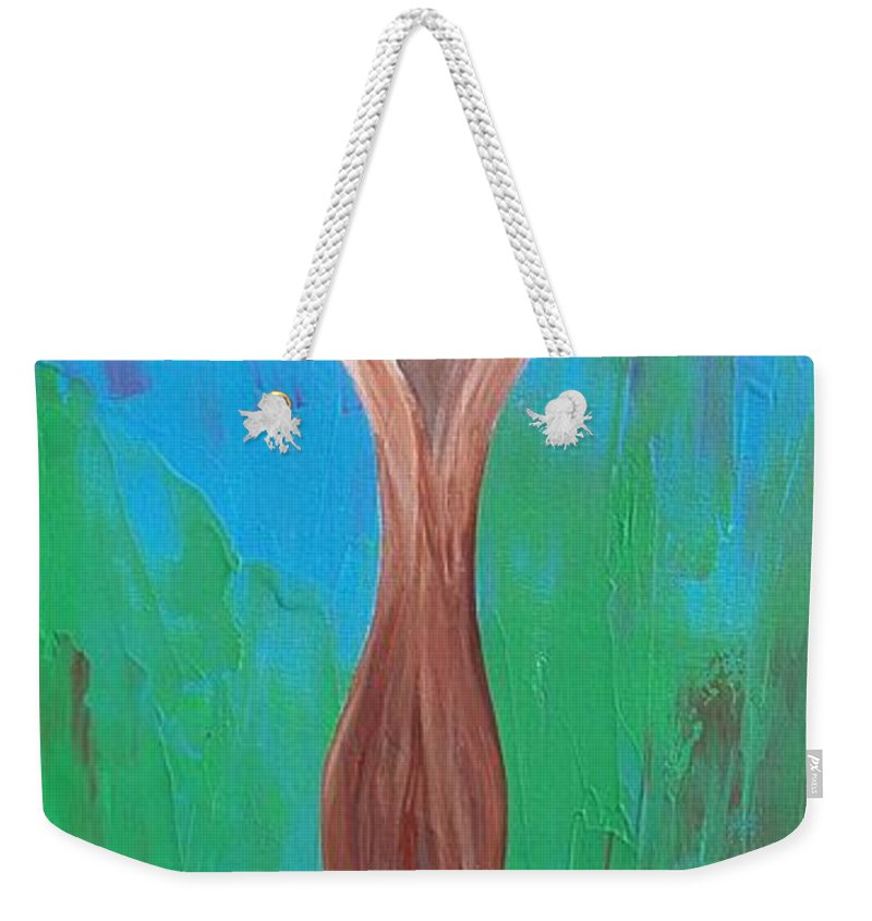 Heaven And Earth Weekender Tote Bag featuring the painting Heaven And Earth Energy Collection by Catt Kyriacou