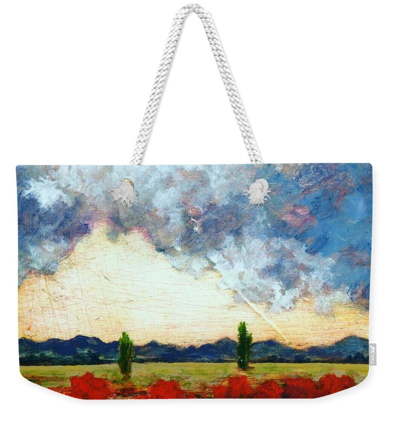 Landscape Weekender Tote Bag featuring the painting Heaven And Earth by Gwen Toomalatai