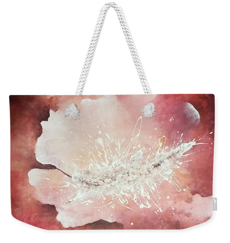Acrylic Canvas Painting Modern Painting Abstract Art Weekender Tote Bag featuring the drawing Heaven by Maryam Javanbakht