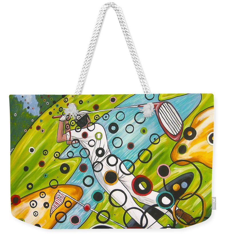 Golf Weekender Tote Bag featuring the painting Heavenly Swing by V Boge